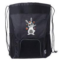 Dab Dabbing Bunny Easter Kids Boys Men Women Drawstring Backpack