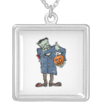 Dabbing Frankenstein Halloween square Silver Plated Necklace