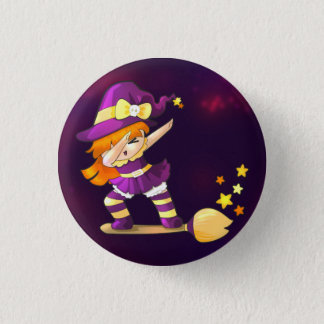 Dabbing Kawaii Witch Pinback Button
