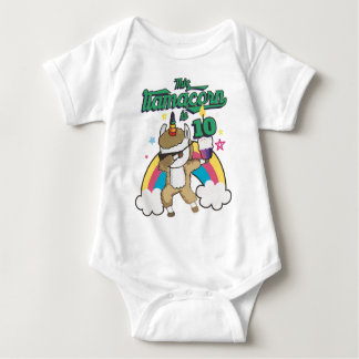 Dabbing Llamacorn Llama Unicorn 10TH Birthday Baby Bodysuit