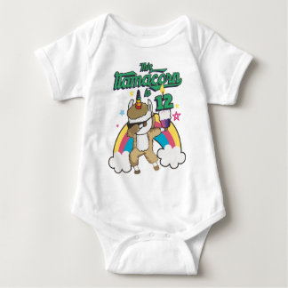 Dabbing Llamacorn Llama Unicorn 12TH Birthday Baby Bodysuit