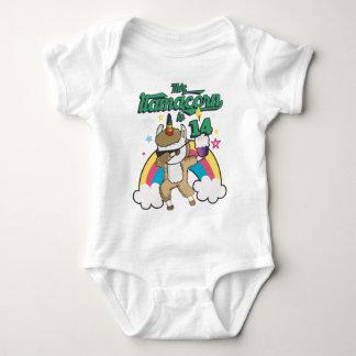 Dabbing Llamacorn Llama Unicorn 14TH Birthday Baby Bodysuit