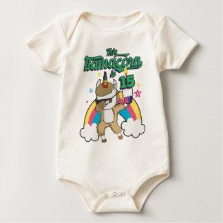 Dabbing Llamacorn Llama Unicorn 15TH Birthday Baby Bodysuit