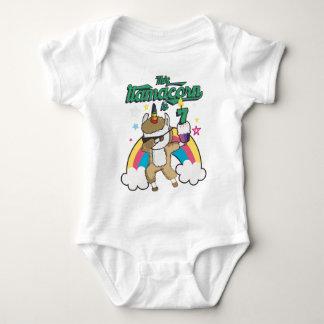 Dabbing Llamacorn Llama Unicorn 7TH Birthday Baby Bodysuit