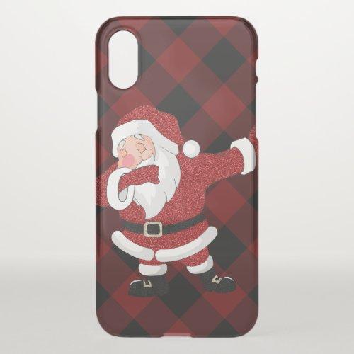 Dabbing Red Plaid Santa Claus  Fun Rustic Buffalo iPhone X Case