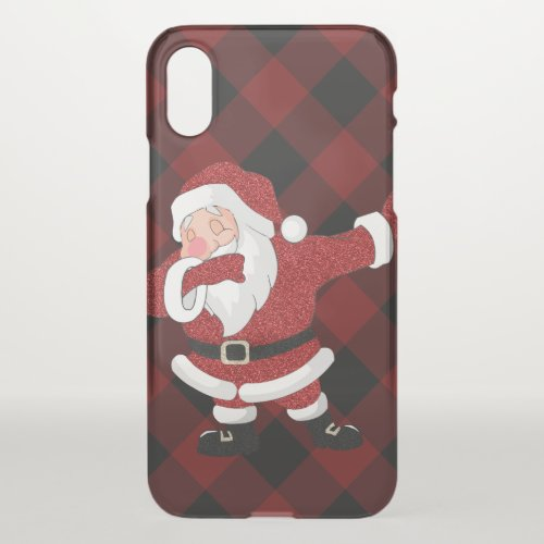 Dabbing Santa Claus Funny Holiday Rustic Red Plaid iPhone X Case