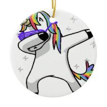 Dabbing Unicorn Ceramic Ornament