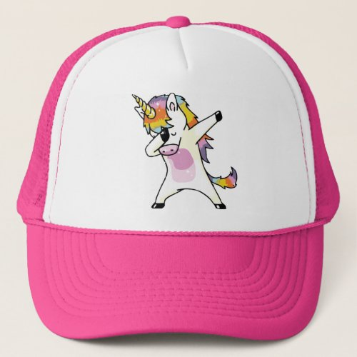 Dabbing Unicorn Funny Cute Rainbow Pink Trucker Hat