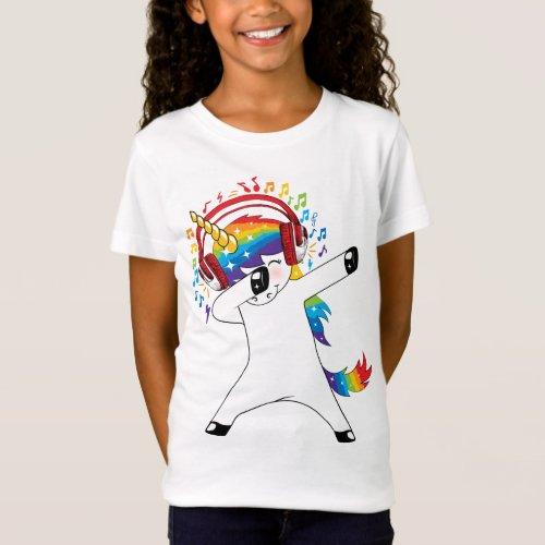 Dabbing Unicorn Listens to Music _ Unicorn T_shirt