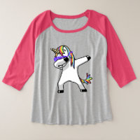 Dabbing Unicorn Plus Size Raglan T-Shirt