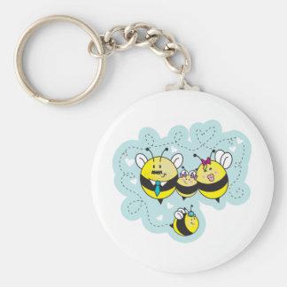 D'abeille del famille del La/familia de la abeja Llavero Redondo Tipo Pin