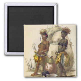 Dabiyaki and Upapazi, Zulu Boys in Dancing Dress, 2 Inch Square Magnet