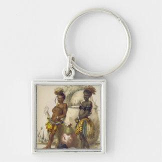 Dabiyaki y Upapazi, muchachos del Zulú en vestido  Llavero Cuadrado Plateado