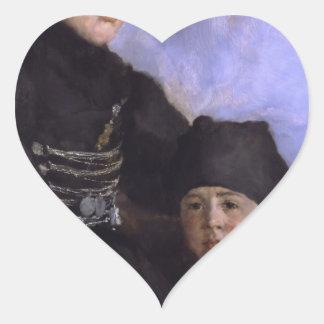 Dachau Woman and Child1873 - 1874 by Wilhelm Leibl Heart Stickers