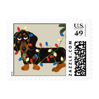 Dachshiund  Tangled In Christmas Lights (Blk/Tan Postage Stamp