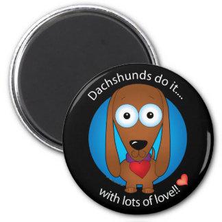 Dachshund 1 del amor imán redondo 5 cm