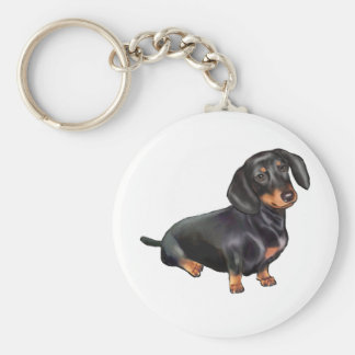 Dachshund (A) - Black and Tan Basic Round Button Keychain