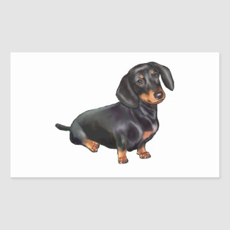 Dachshund (A) - Black and Tan Rectangular Sticker