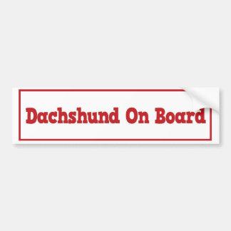 Dachshund a bordo pegatina para el parachoques pegatina para auto