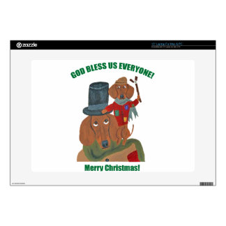 "Dachshund ""A Christmas Carol"" Tiny Tim 15"" Laptop Skins"