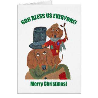 "Dachshund ""A Christmas Carol"" Tiny Tim Card"