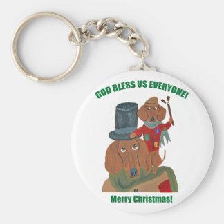 "Dachshund ""A Christmas Carol"" Tiny Tim Keychain"