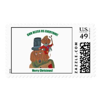 "Dachshund ""A Christmas Carol"" Tiny Tim Postage"