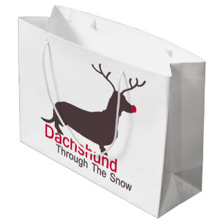 Dachshund a través de la nieve bolsa de regalo grande