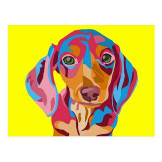 Dachshund abstracto amarillo tarjeta postal