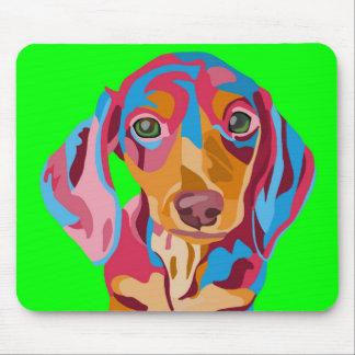 Dachshund abstracto de la verde lima alfombrilla de raton