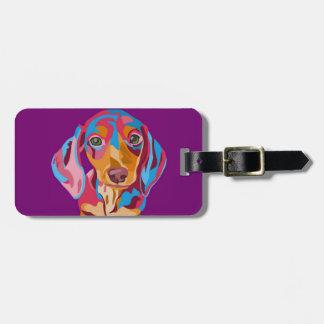 Dachshund abstracto púrpura etiquetas bolsa