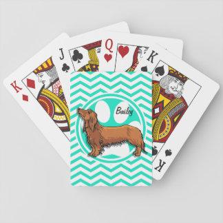 Dachshund; Aguamarina Chevron verde Cartas De Póquer