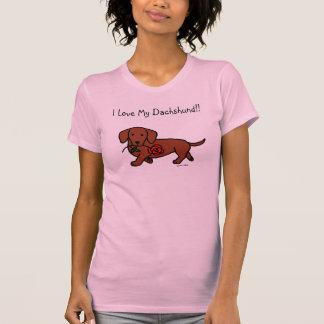 Dachshund and a flower cartoon t-shirt