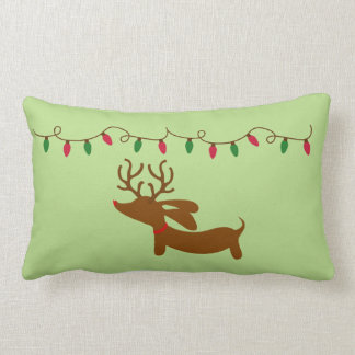Dachshund and Christmas Tree Lights Lumbar Pillow