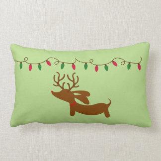 Dachshund and Christmas Tree Lights Lumbar Pillow
