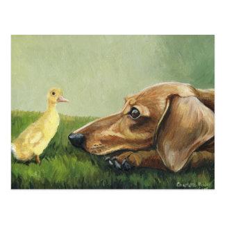 """Dachshund and Duckling"" Postcard"