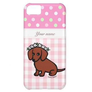 Dachshund and Flowers Cartoon Case For iPhone 5C