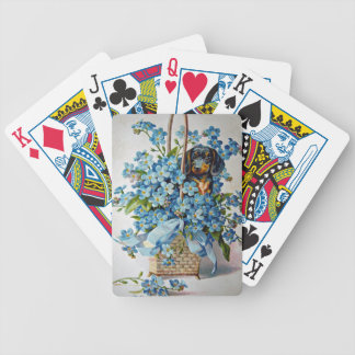 Dachshund and Forget-Me-Nots Bicycle Playing Cards