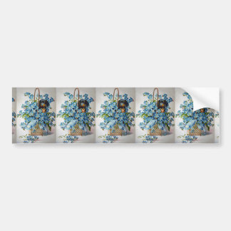 Dachshund and Forget-Me-Nots Bumper Sticker