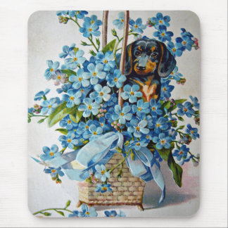 Dachshund and Forget-Me-Nots Mouse Pad