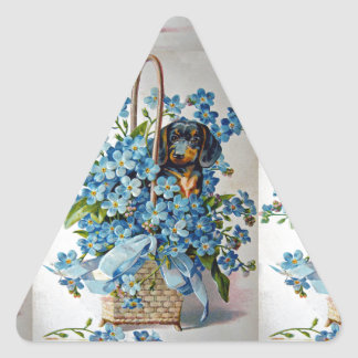 Dachshund and Forget-Me-Nots Triangle Sticker