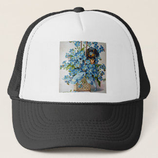 Dachshund and Forget-Me-Nots Trucker Hat
