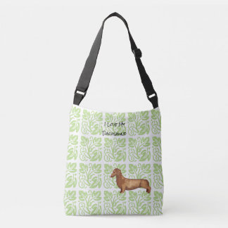 Dachshund and Green Print [Med.] Crossbody Bag