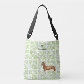 Dachshund and Green Print [Med.] Crossbody Bag