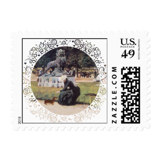 Dachshund and Lady in Park Postage Stamps