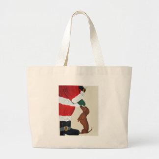 Dachshund And Santa Canvas Bag