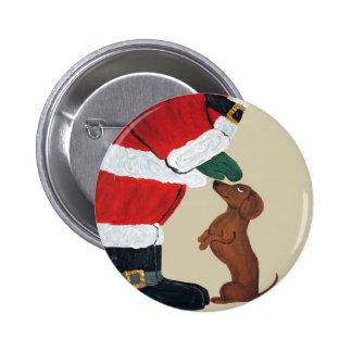 Dachshund And Santa Button