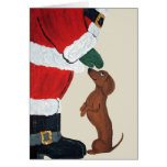 Dachshund And Santa Greeting Cards