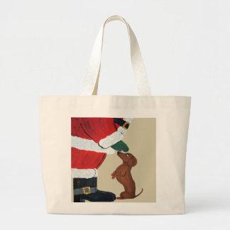 Dachshund And Santa Large Tote Bag