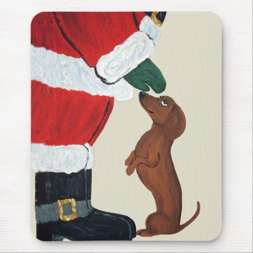 Dachshund And Santa Mousepad